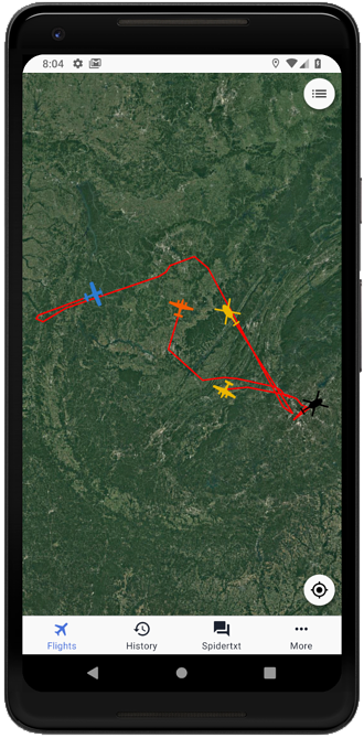 Flights _ Satellite (track lines)